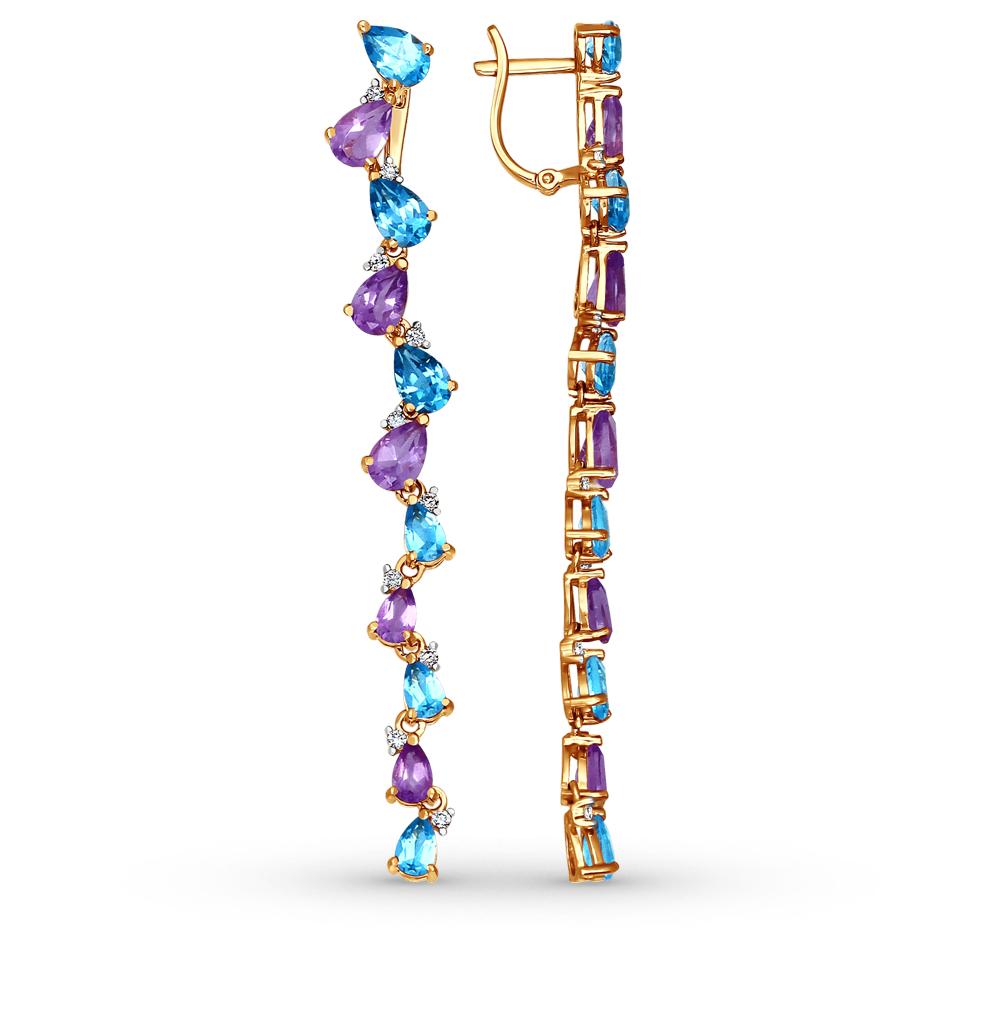 Фото «золотые серьги с аметистом, топазами и фианитами»
