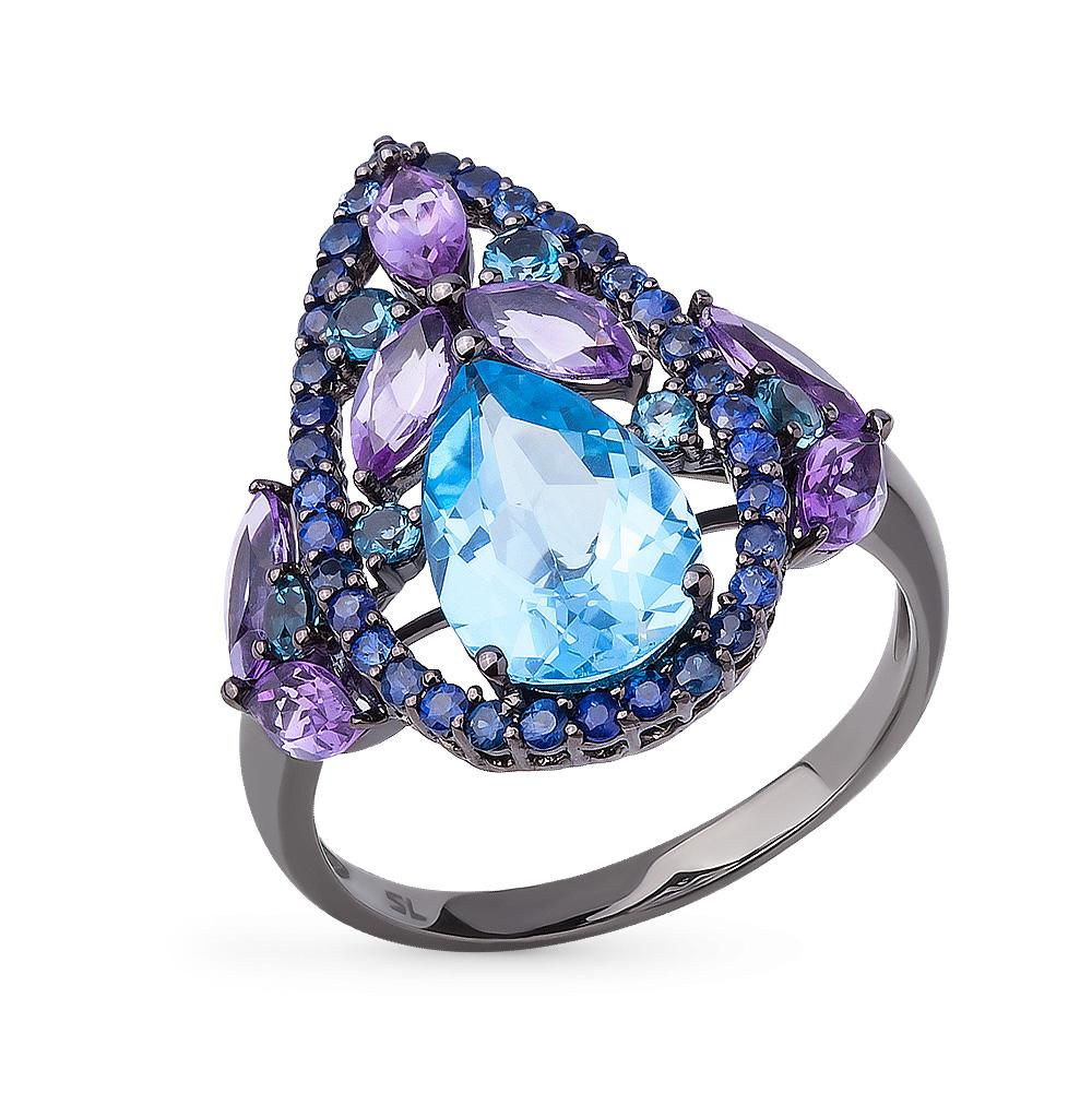Фото «кольцо с аметистом, топазами и сапфирами»
